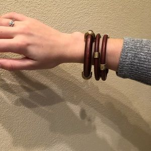 Jewelry - Set of three wooden bangles with brass accents